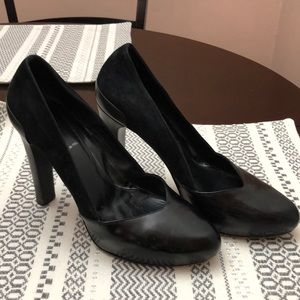 FENDI Black Suede and Leather Heels Size 37.5
